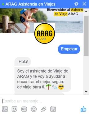 screenshot en Facebook de ARAG asistencia de viajes