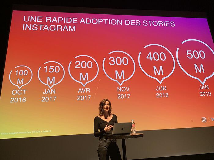 ↑ Julie Bogaert, Responsable des partenariats Europe du sud @Instagram  lors de la rencontre #InfluenthStories (crédit photo : Soraya)