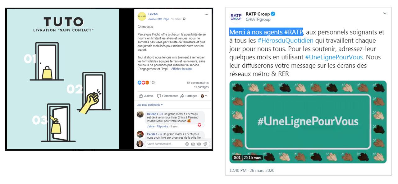 Les communications de Frichti et RATP, sur l'activité et la sécurité des colloborateurs