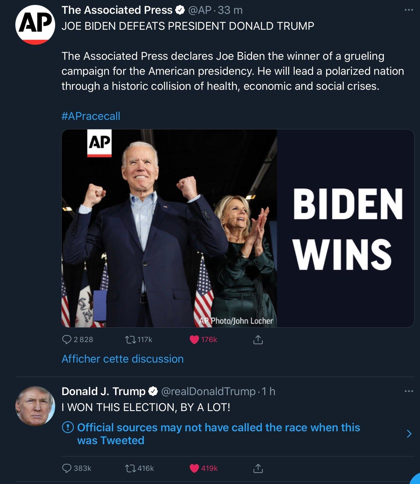 Samedi 7 novembre 2020 : un des (nombreux) tweets de Donald Trump signalés par Twitter :