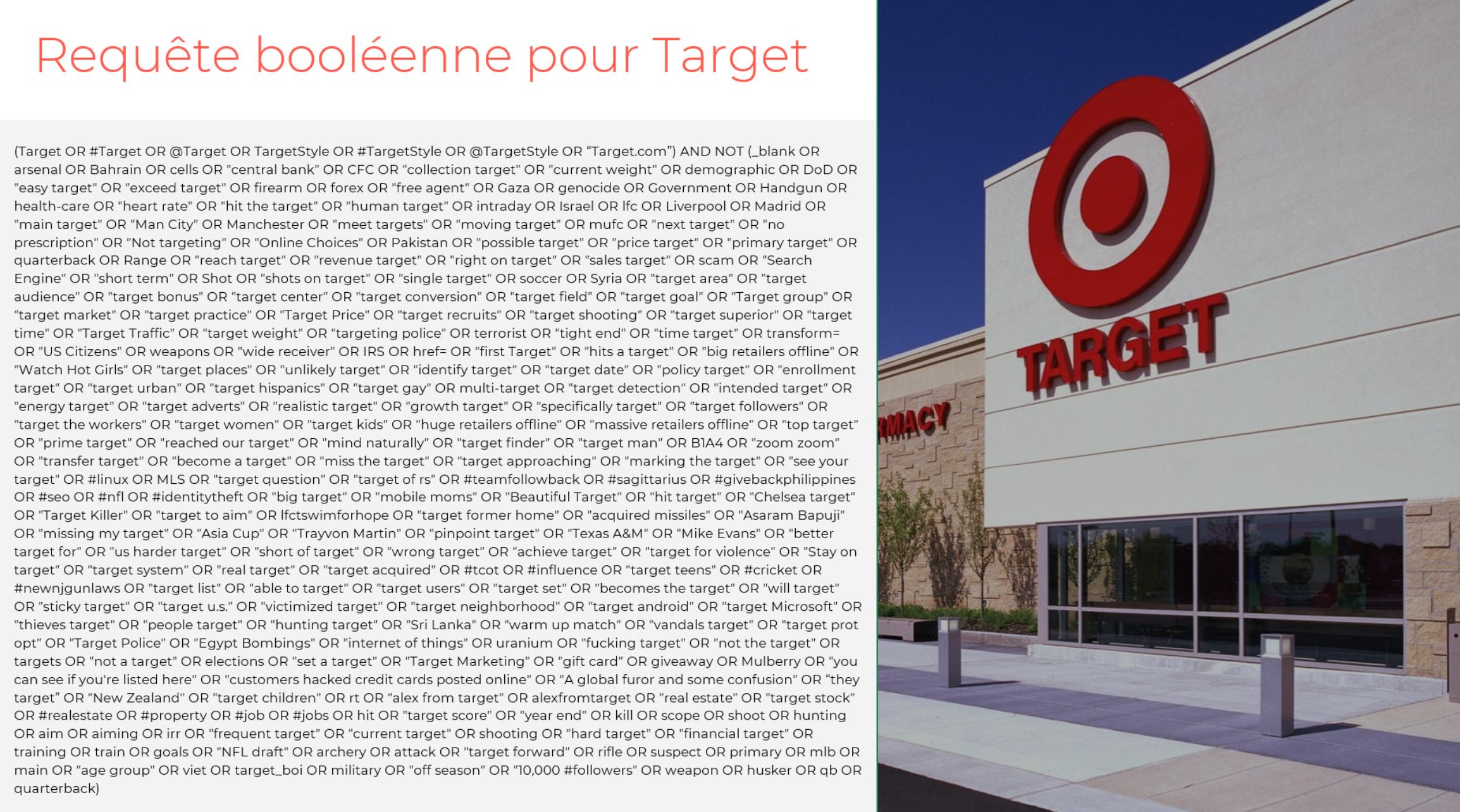 requêt classique booleenne pour surveiller Target