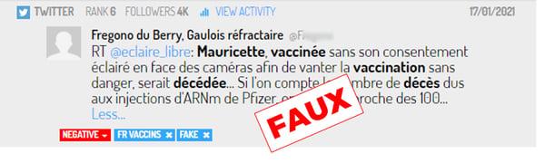 Une fake news diffusée sur Twitter