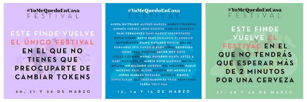 ↑ Carteles promocionales del festival #YoMeQuedoEnCasa