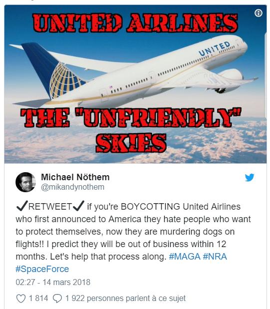 Tweet à propos de la crise de United Airlines