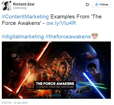 tweet about content marketing and star wars