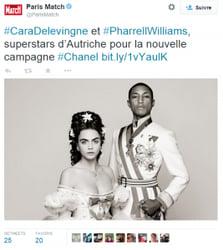 Paris Match Tweet pharell Williams et Carla