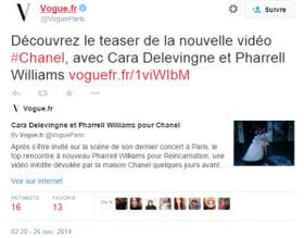tweet Vogue nouveau teaser Chanel