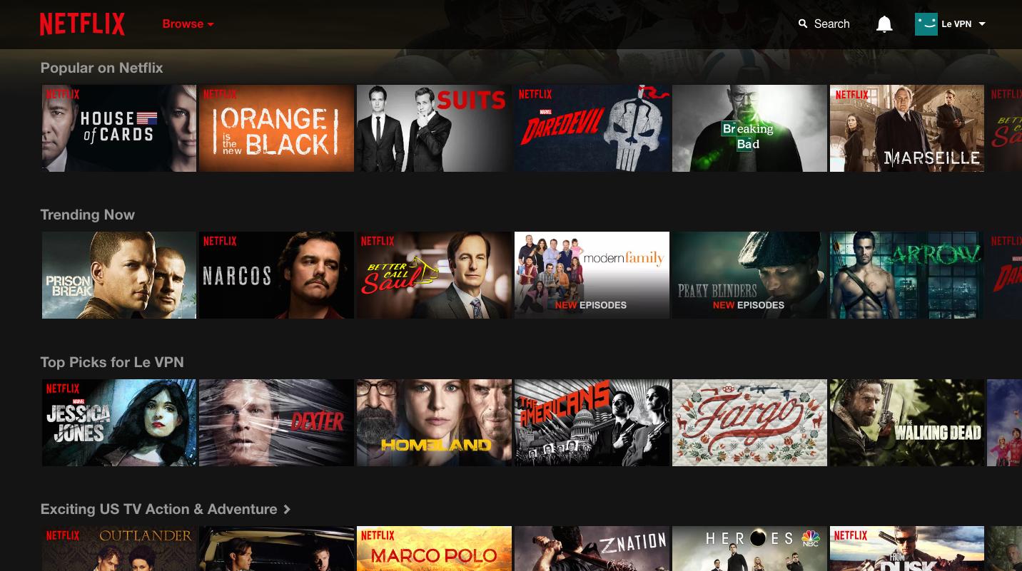 Tableau de bord de Netflix