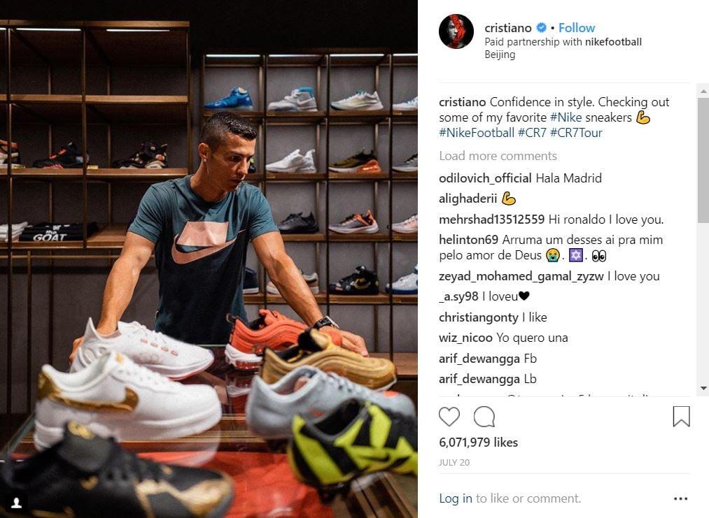 Post de Cristiano Ronaldo, postant une photo avec ses différentes chaussures Nikes et récoltant plus de 6 millions de likes.