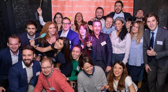 Foto del equipo Digimind en evento en Madrid - afterwork Digimind Hootsuite