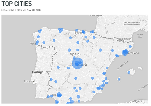 top cities mapa de social selling