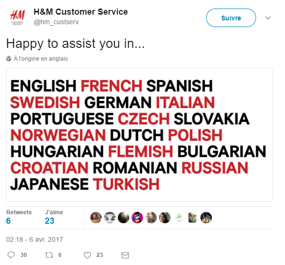 multichannel strategy: H&D customer service twitter