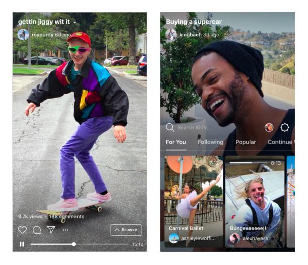 IGTV, nouvelle fonctionnalité d'Instagram