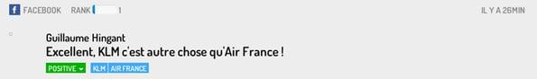 post Facebook KLM et Airfrance