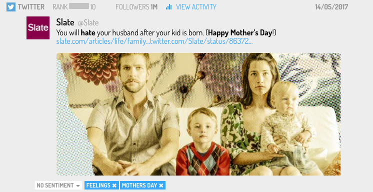 screenshot of a tweet about mothers day