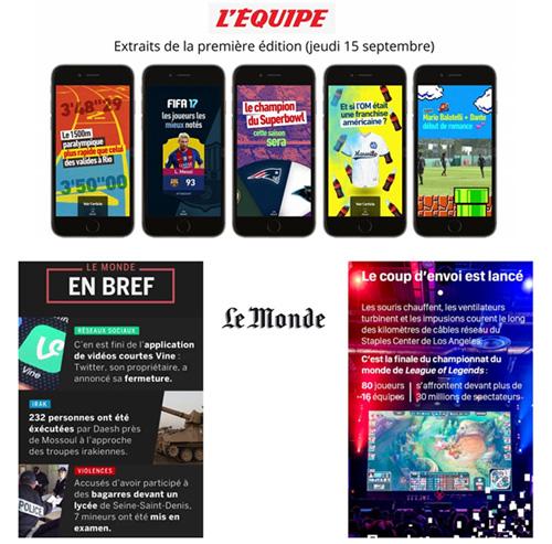 Extraits des Snapchat Discover de L'Equipe et du Monde