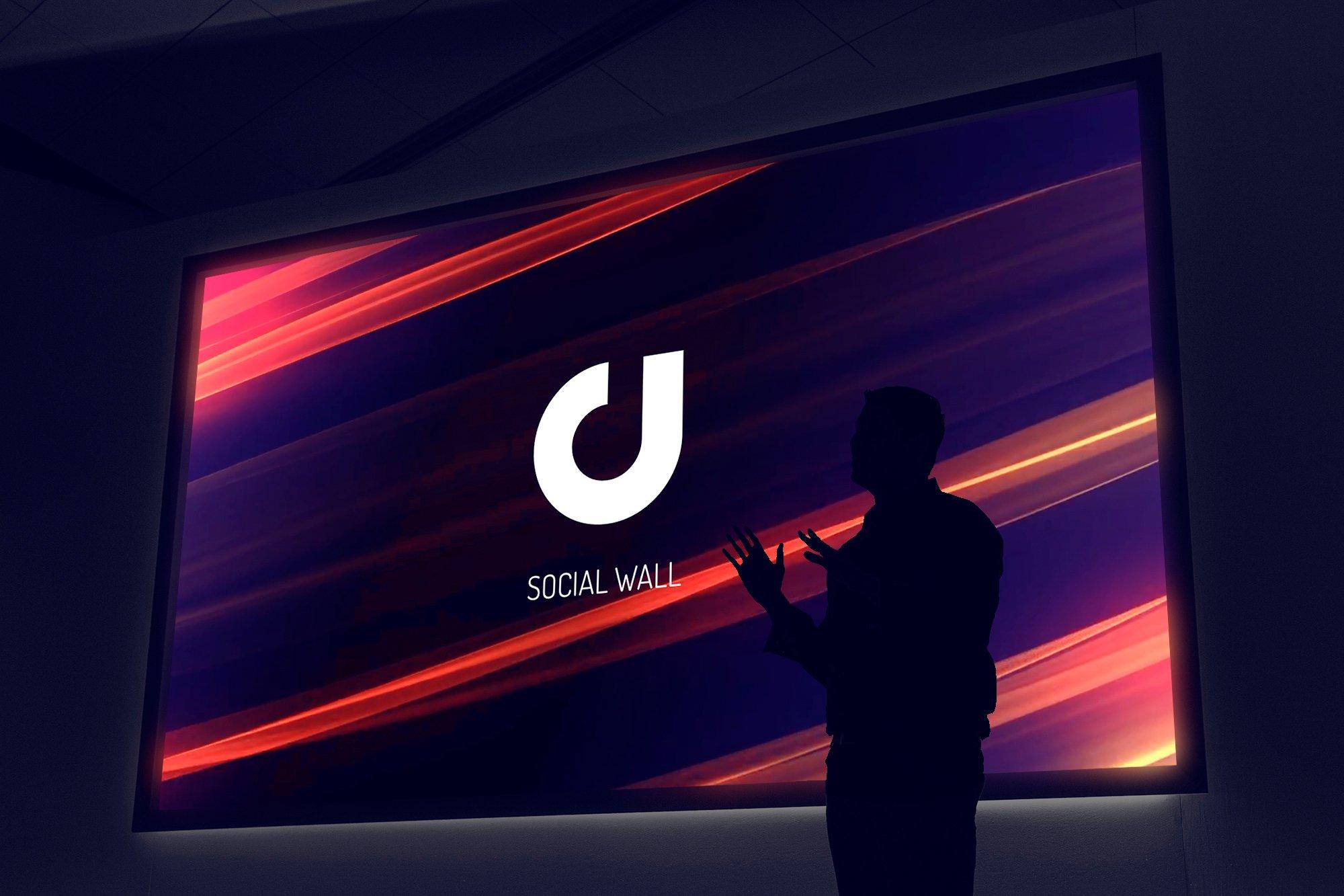 social wall imagen con presentador y logo de digimind