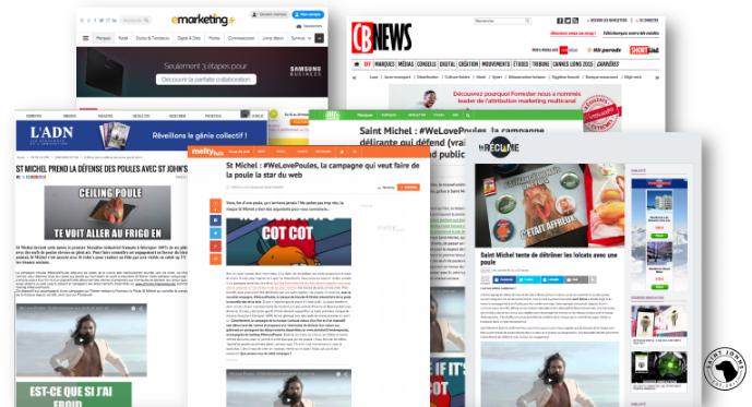 ↑ Campagne des agences : Quelques reprises médias d'une des campagnes St. Michel