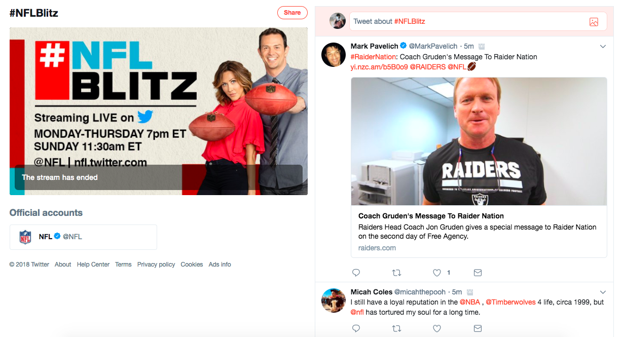 An example of a sports livestream from Twitter's sports video partnership.