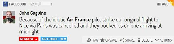 post facebook grève Airfrance