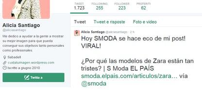 tweet preguntando porque las modelos de Zara aparecen tristes