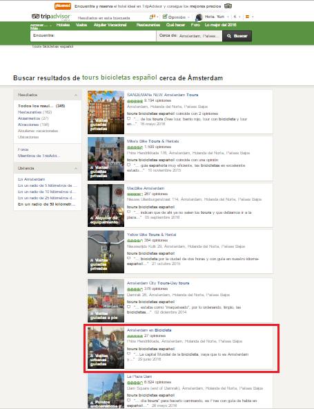 Dashboard de Tripadvisor sobre reseñas en español