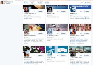 Algunas de las cuentas que la periodista Ana Pastor sigue en su Twitter