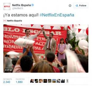 Tuit de Netflix España bienvenida