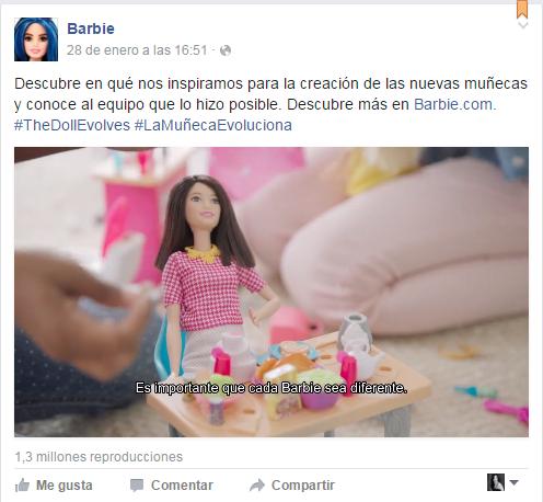 Post de Facebook sobre la nueva barbie evoluciona
