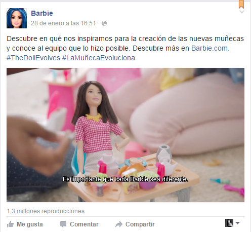 Post de Facebook sobre la nueva barbie evoluciona