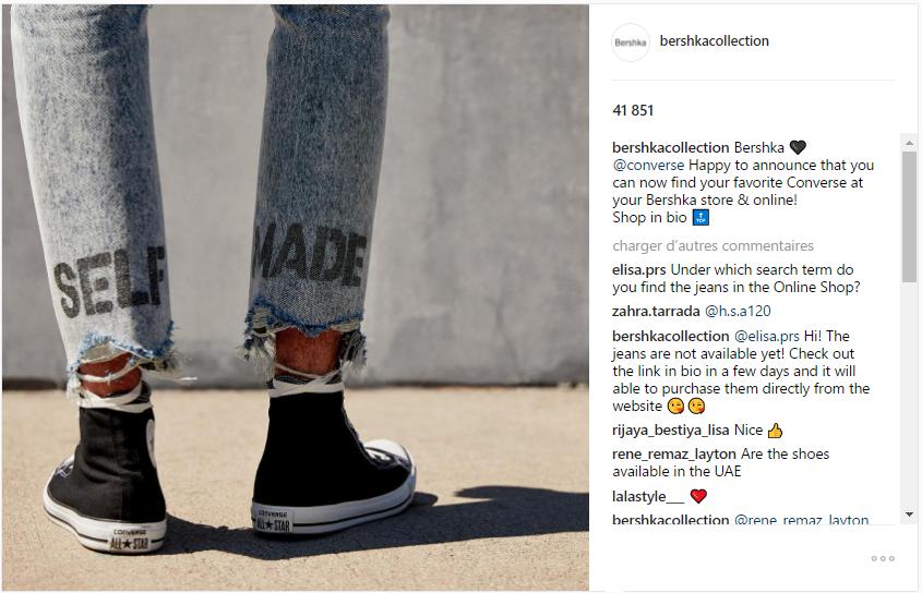 Exemple de co-marketing entre la marque Bershka et la marque Converse
