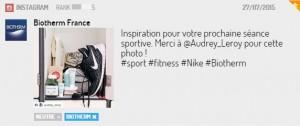 Post Instagram de Biotherm France