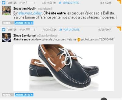 Tweet sur des choix à faire concernant l'achat de chaussures