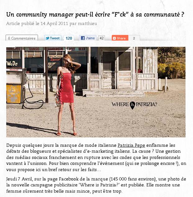 un community manager peut-il écrire F*ch à sa communauté