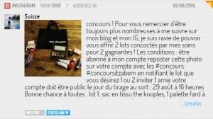Concours d'une bloggueuse sur Instagram