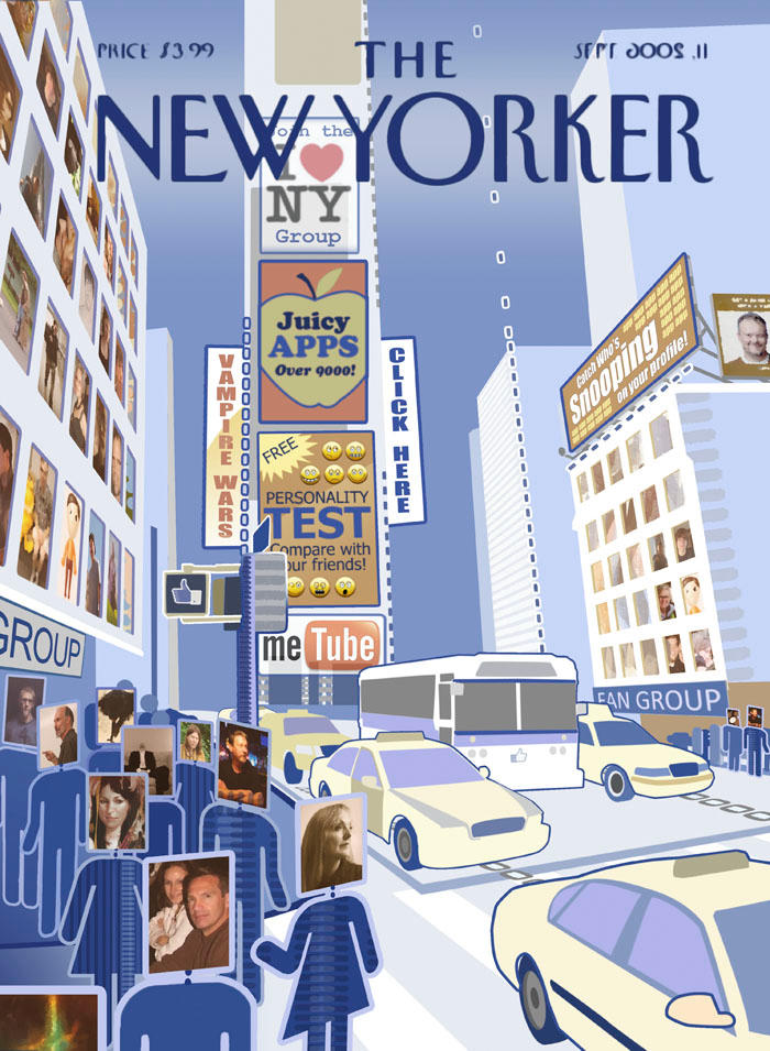 """Facebook City""  The New Yorker- Cover par Anita Kunz"