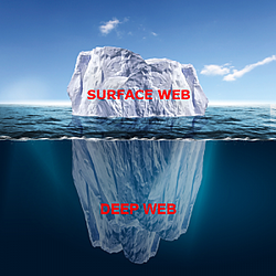 Iceburg in water labeled surface web above water and deep web underwater