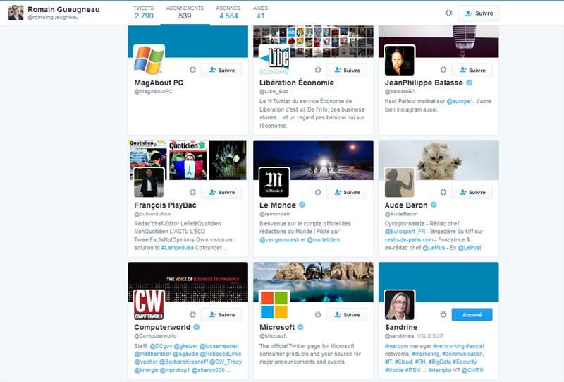 Quelques abonnements du compte Twitter de @romaingueugneau journaliste aux Echos service high Tech