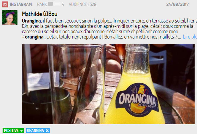 Post Orangina sur Instagram