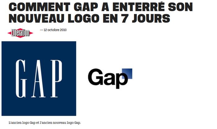 Machine arrière pour le changement de logo de Gap en 2010
