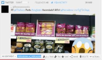 Tuit sobre pasta gluten free marca Hacendado