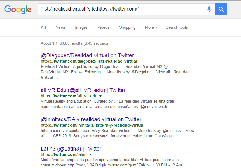 Encuentra listas de Twitter en Google