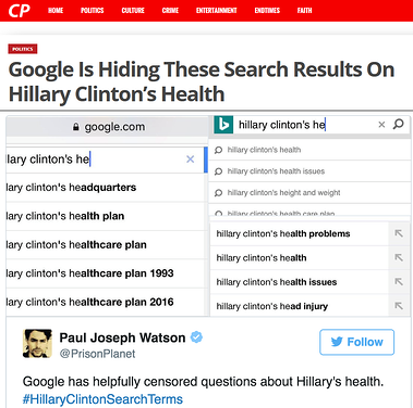 Google acusado de censura de la salud de Hillary Clinton