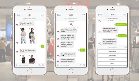 Chatbots a través del móvil de la marca H&M