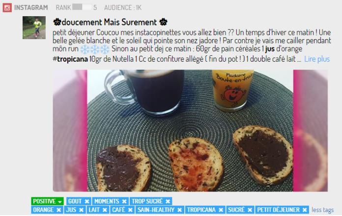 Un post Instagram présentant une marque de jus de fruit et son contexte de consommation
