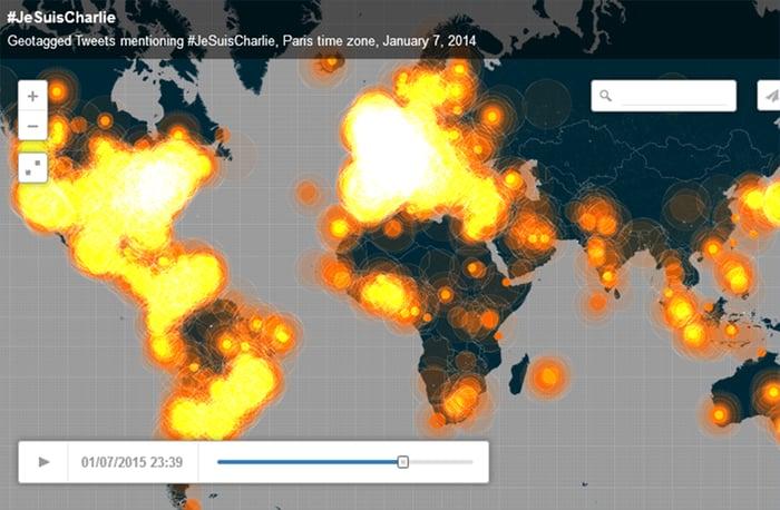 Le hashtag JeSuisCharlie diffusé dans plus de 5 millionsde tweets