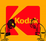 two angry cartoons face off in front of the kodak logo