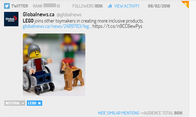 Tuit sobre campaña de LEGO con productos inclusivos