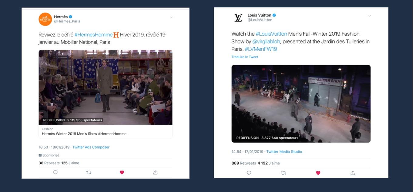 Les Live des défilés Hermes et Louis Vuitton sur Twitter