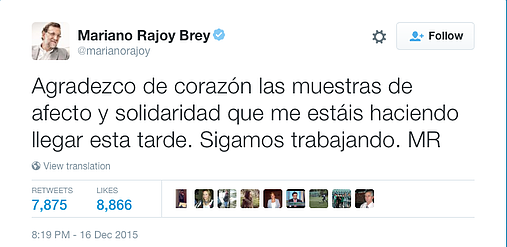 Mariano Rajoy Twitter top publication